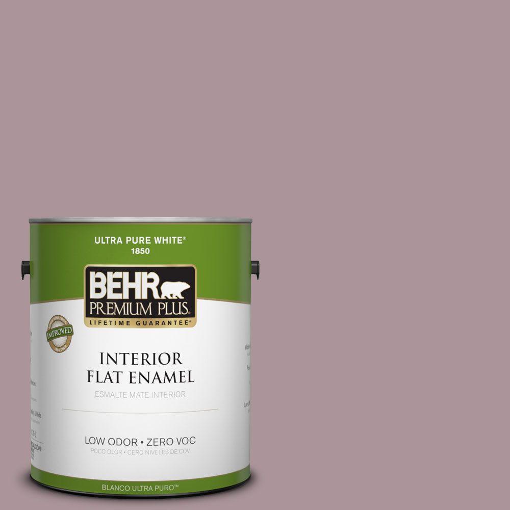 BEHR Premium Plus 1-gal. #ICC-64 Heirloom Quilt Zero VOC Flat Enamel Interior Paint-DISCONTINUED