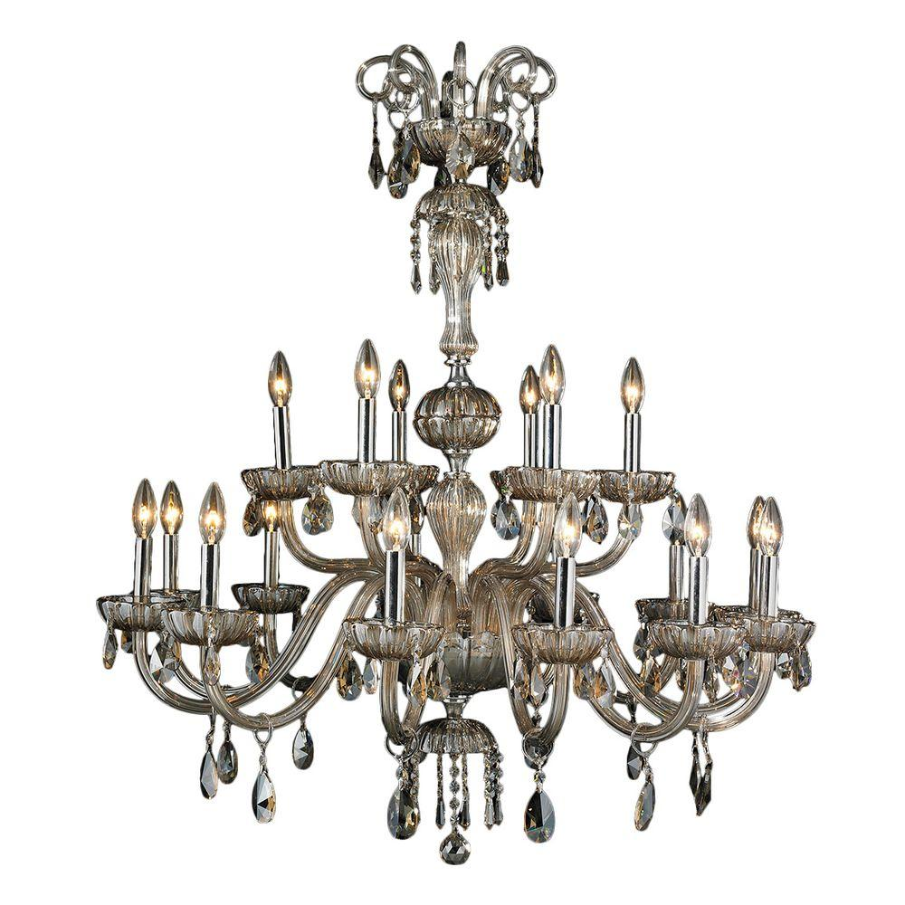 Carnivale 18-Light Polished Chrome and Golden Teak Crystal Chandelier