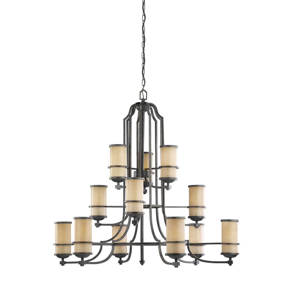 Roslyn 12-Light Flemish Bronze Chandelier with LED Bulbs