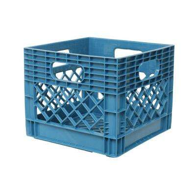 11 in. x 13 in. x 13 in. Plastic Storage Milk Crate in Blue