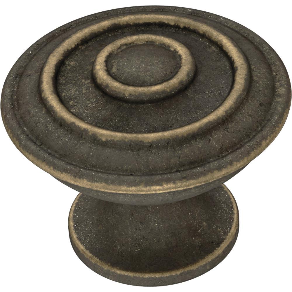 Essentials Hayes 1-1/4 in. (32 mm) Warm Chestnut Cabinet Knob (10-Pack)
