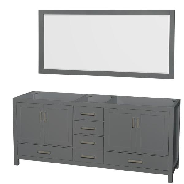 Sheffield 78.5 in. W x 21.5 in. D Vanity Cabinet Only with Mirror in Dark Gray