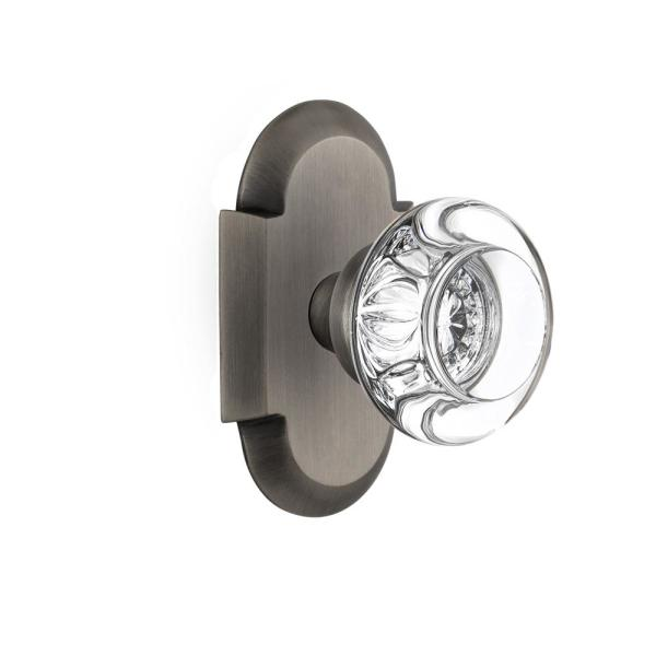 Nostalgic Warehouse Cottage Plate 2 3 8 In Backset Antique Pewter Privacy Bed Bath Round Clear Crystal Glass Door Knob 712945 The Home Depot