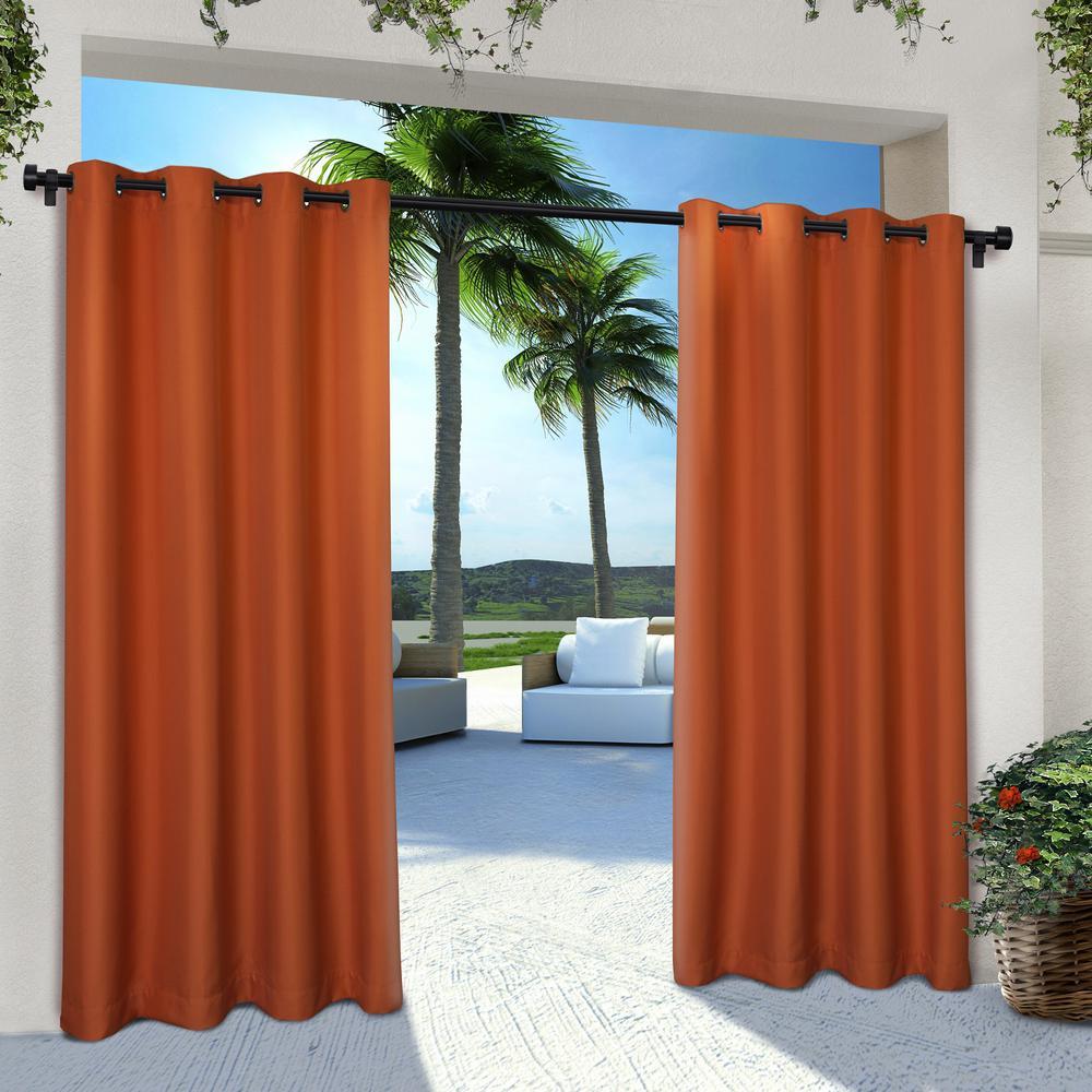 Indoor Outdoor Solid 54 in. W x 96 in. L Grommet Top Curtain Panel in Mecca Orange (2 Panels)