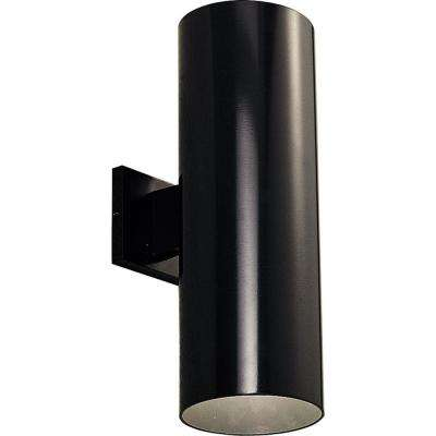 2-Light Black Integrated LED Outdoor Wall Mount Cylinder Light