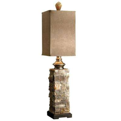 31 in. Ivory and Brown Layered Stone Buffet Lamp