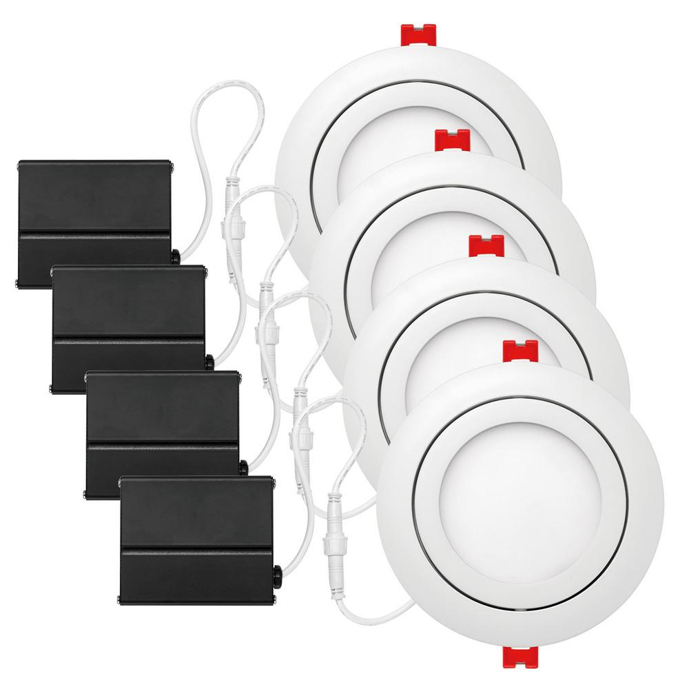white integrated led recessed kit (4-pack)