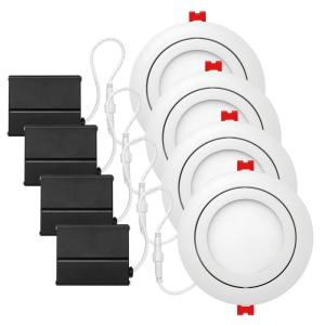 4PK Globe Electric Slimline 4 in. Integrated LED Recessed Kit Deals