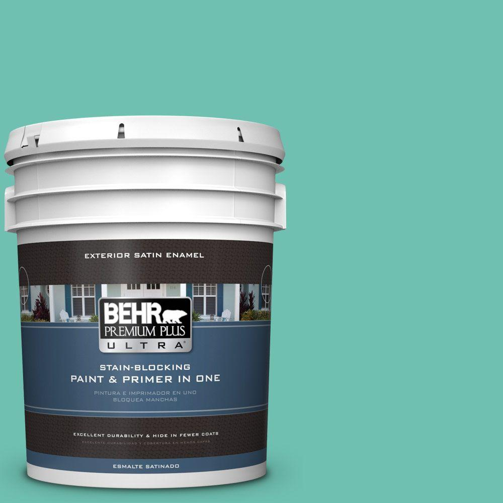 BEHR Premium Plus Ultra 5-gal. #P440-4 March Aquamarine Satin Enamel Exterior Paint