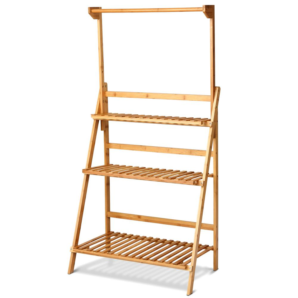 Costway 3-Tier Natural Bamboo Hanging Folding Plant Stand ...