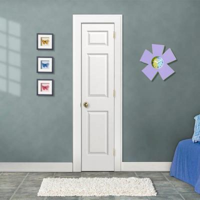 18 in. x 80 in. Colonist White Painted Left-Hand Textured Molded Composite MDF Single Prehung Interior Door