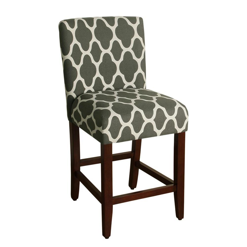 Homepop Upholstered 24 in. Gray Bar Stool
