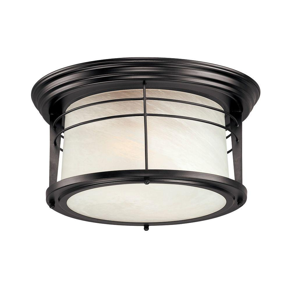Westinghouse Senecaville 2-Light Weathered Bronze Outdoor Flushmount ...