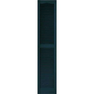 15 in. x 72 in. Louvered Vinyl Exterior Shutters Pair in #166 Midnight Blue