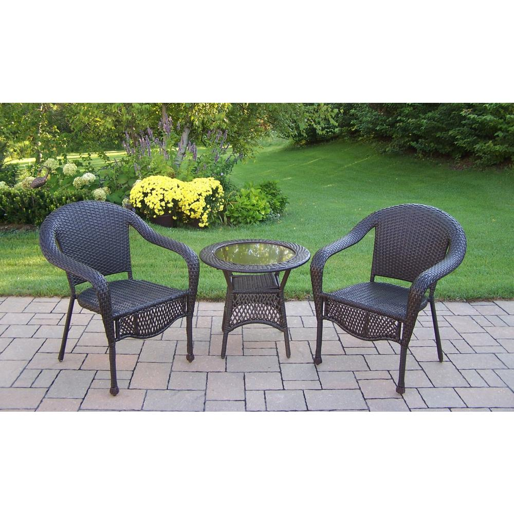 Coffee Wicker 3-Piece Outdoor Bistro Set