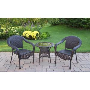 Coffee Wicker 3-Piece Outdoor Bistro Set by