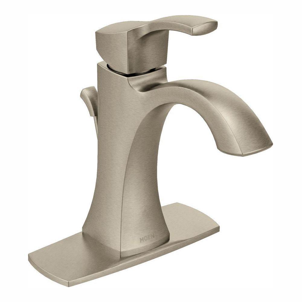 MOEN Voss Single Hole 1-Handle High-Arc Bathroom Faucet in Brushed Nickel