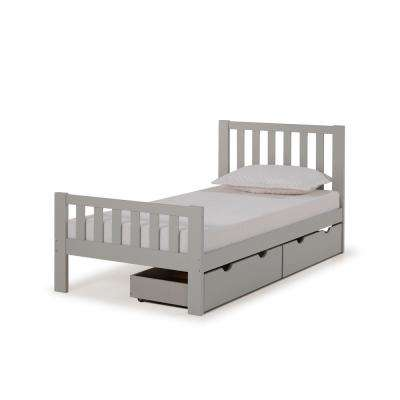 Aurora Dove Gray Twin Bed with Storage Drawers