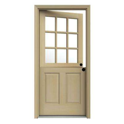 36 in. x 80 in. 9 Lite Unfinished Wood Prehung Left-Hand Inswing Dutch Front Door with AuraLast Jamb and Brickmold