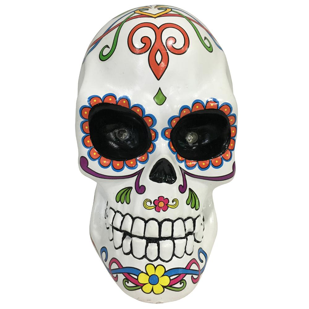 Home Accents Holiday Home Accents Holiday 10 in. Halloween Day of the Dead Lighted Skull