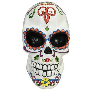 10 in. Halloween Day of the Dead Lighted Skull