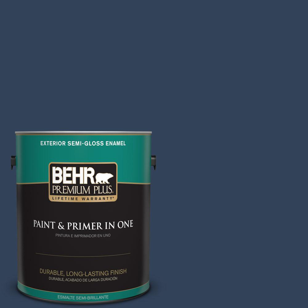 1-gal. #590F-7 Peaceful Night Semi-Gloss Enamel Exterior Paint