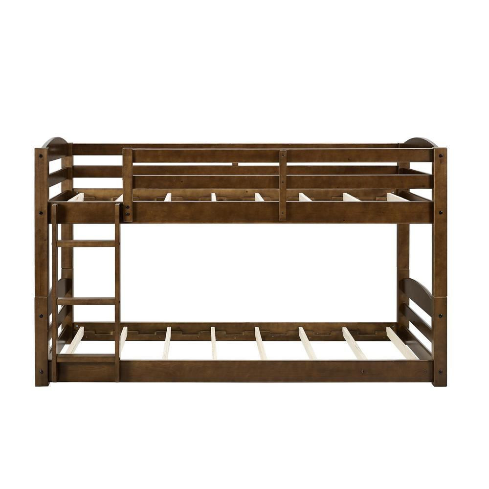 Twin Brown Wood Bunk Bed Frame Noma