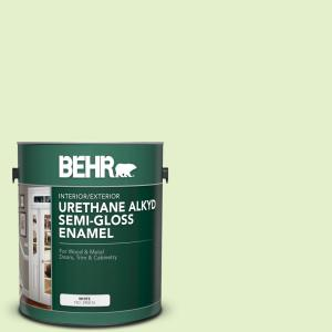 Behr 1 Gal Bxc 14 Water Chestnut Urethane Alkyd Semi Gloss Enamel Interior Exterior Paint 390001 The Home Depot