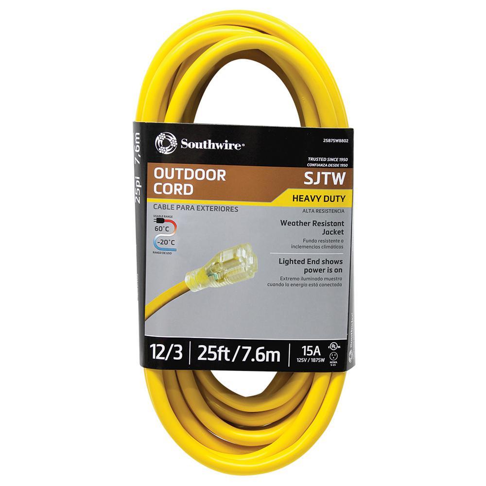 100/' 10 Gauge SJTOW YLW Tough Ultra Heavy Duty Extension Cord w//Lighted End UL