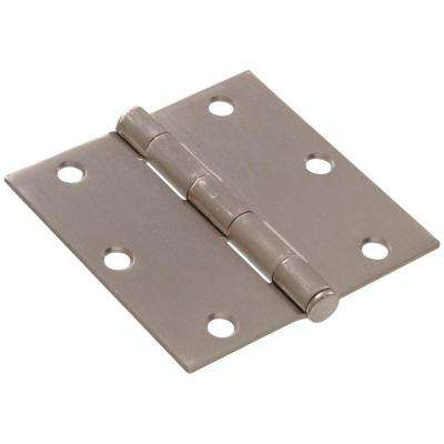 3-1/2 in. Satin Nickel Residential Door Hinge with Square Corner Removable Pin Full Mortise (9-Pack)