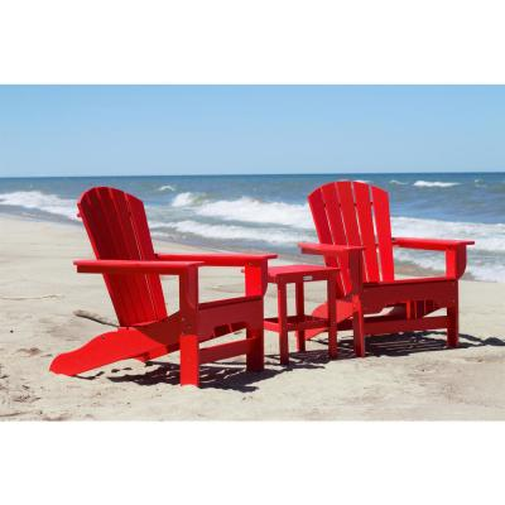 Boca Raton Bright Red 3-Piece Recycled Plastic Patio Curveback Adirondack Chat Set