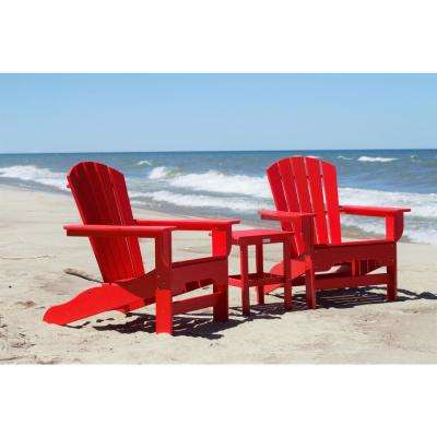 Boca Raton Bright Red 3-Piece Recycled Plastic Patio Curveback Adirondack Chat Set