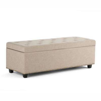 Hamilton 48 in. Traditional Storage Ottoman in Natural Linen Look Fabric