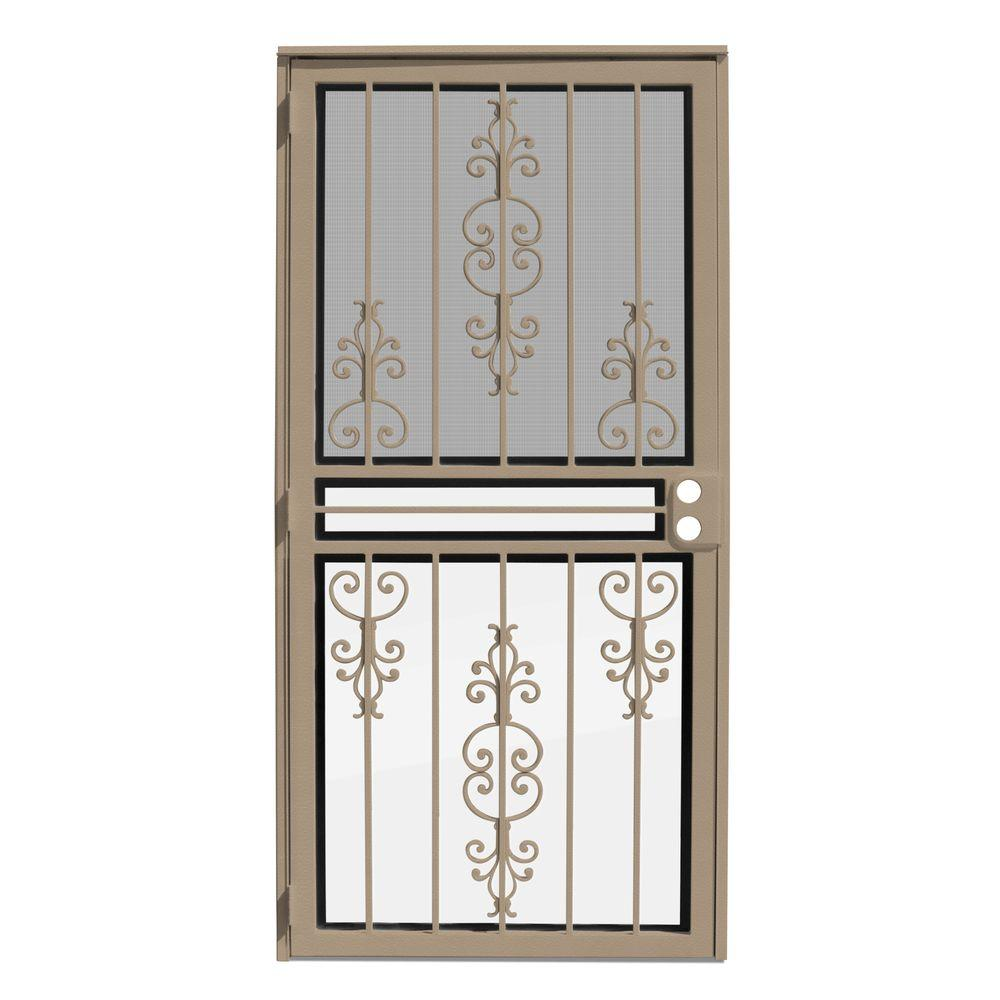 Unique Home Designs 36 in. x 80 in. Estate Tan Recessed Mount All Season Security Door with Insect Screen and Glass Inserts