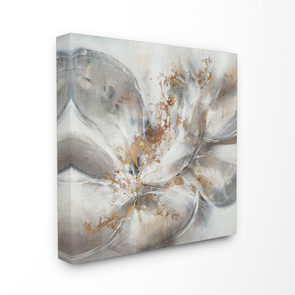 24 in. x 24 in. ''Abstract Flower Bloom Grey Gold Painting'' by Third and Wall Canvas Wall Art