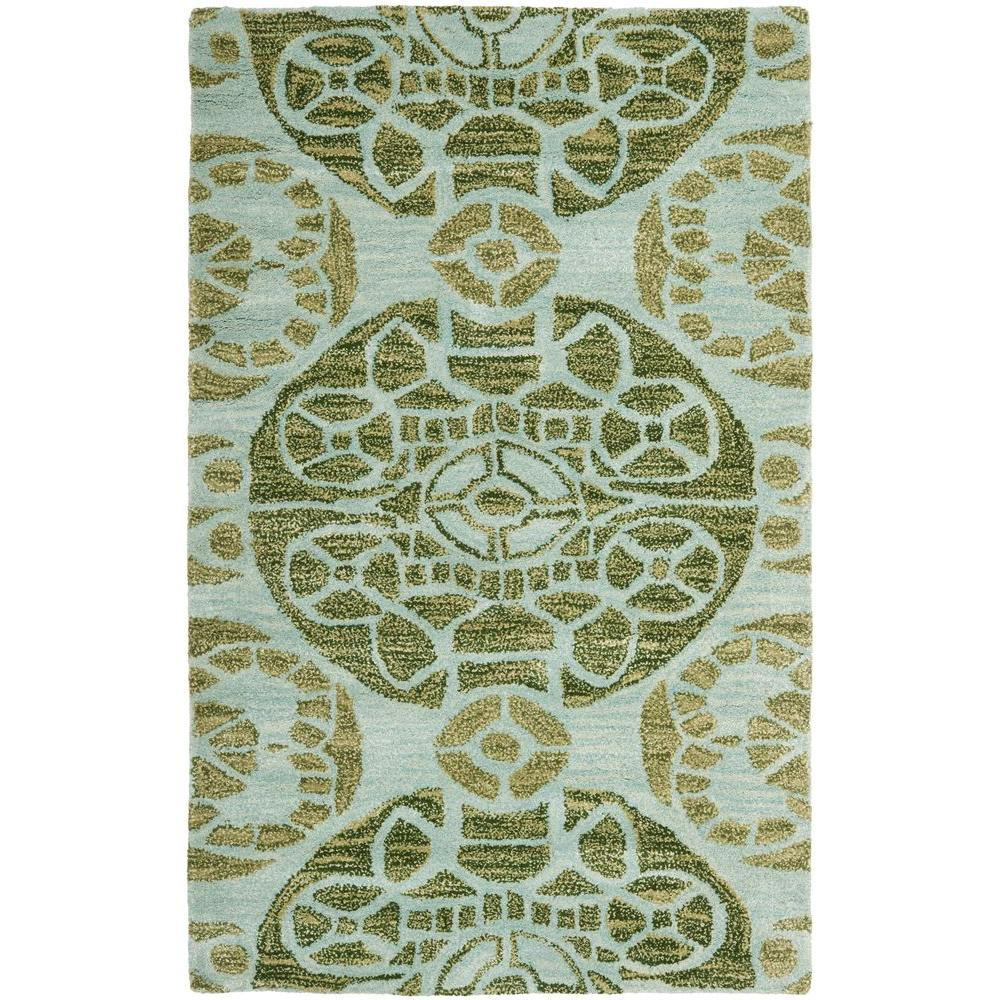 Safavieh Wyndham Turquoise Green 8 Ft X 10 Ft Area Rug: Safavieh Wyndham Turquoise/Green 3 Ft. X 5 Ft. Area Rug