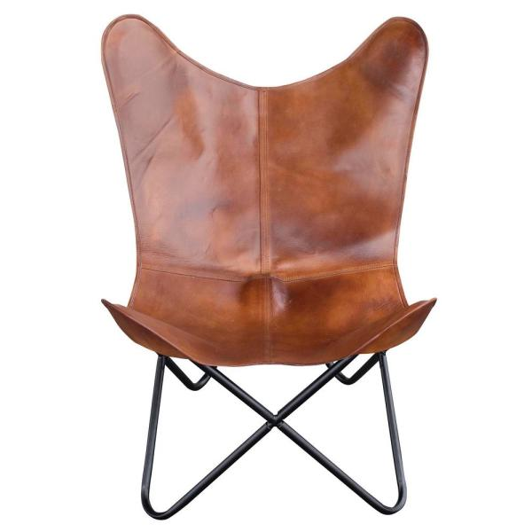 Amerihome Natural Tanned Leather Erfly Chair