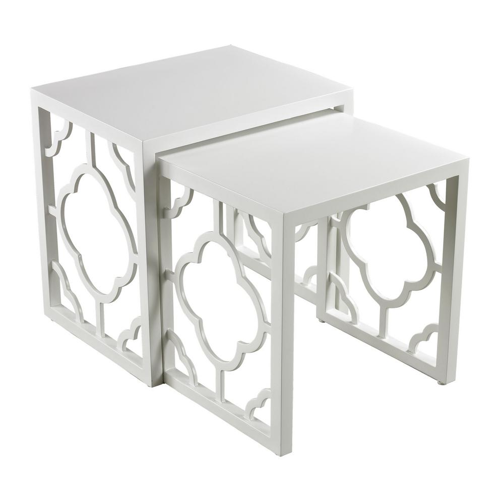 Titan Lighting Marrakech Gloss White 2 Piece Nesting Side Table