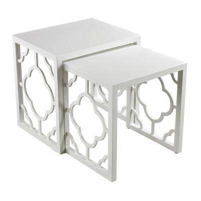 Marrakech Gloss White 2-Piece Nesting Side Table