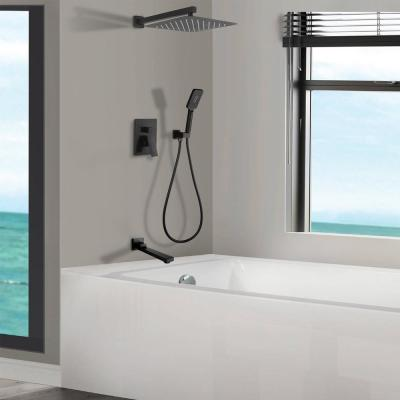 3-Spray with 2.5 GPM 12 in. 3 Functions Tub Wall Mount Dual Shower Heads in Spot in Matte Black (Valve Included)