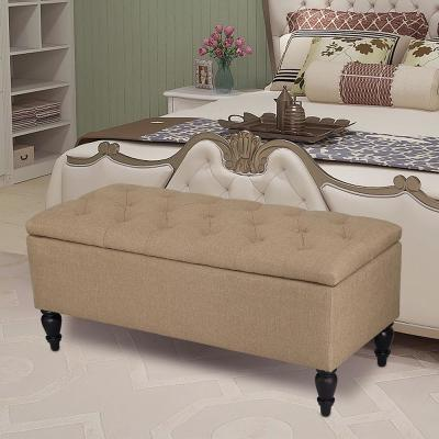 38 in. Tan Upholstered Ottoman Storage Bench