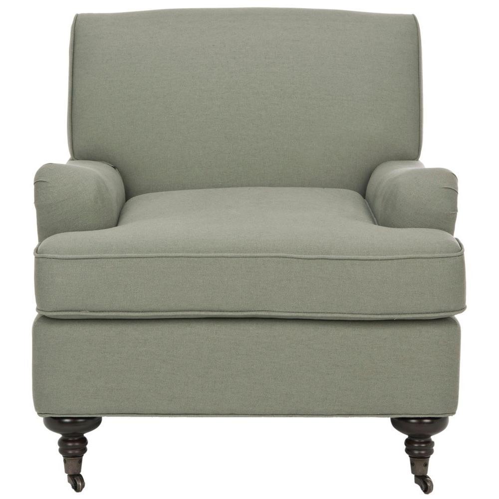 Safavieh ChloeSea Mist Blue/Java Linen Club Arm Chair