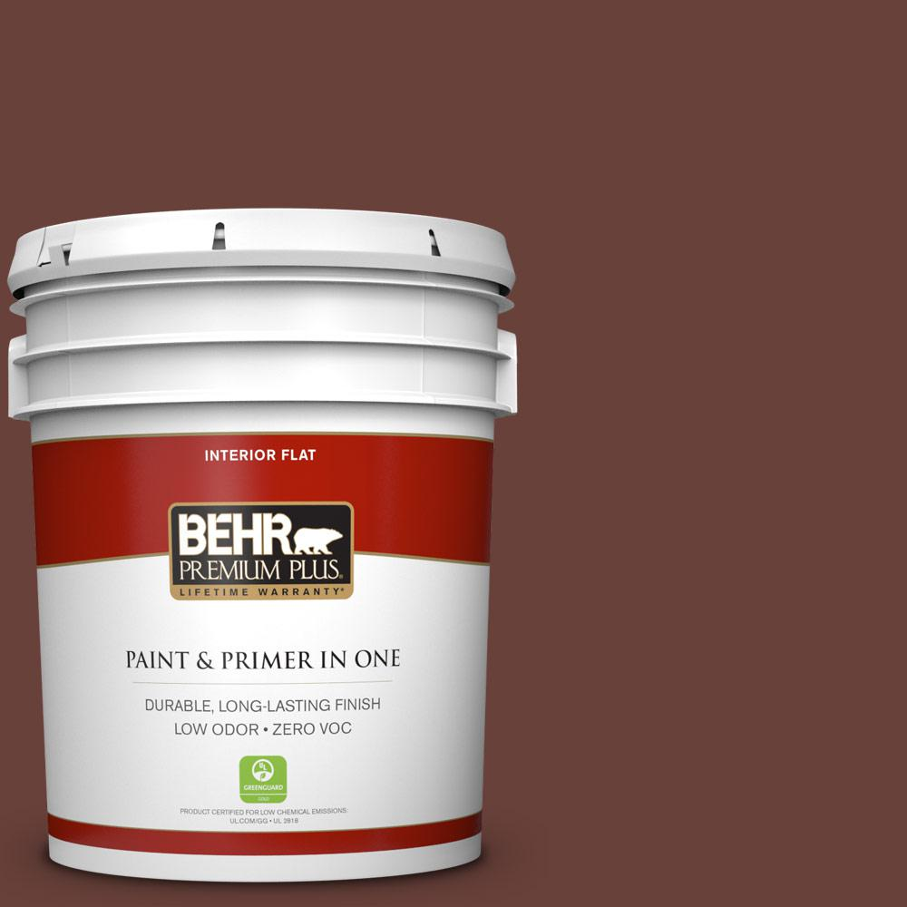 BEHR Premium Plus 5 gal. #bnc-32 Maximum Mocha Zero VOC Flat Interior Paint, Browns/Tans