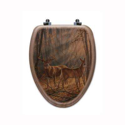 Woodland Splendor Elongated Closed Front Wood Toilet Seat in Oak Brown