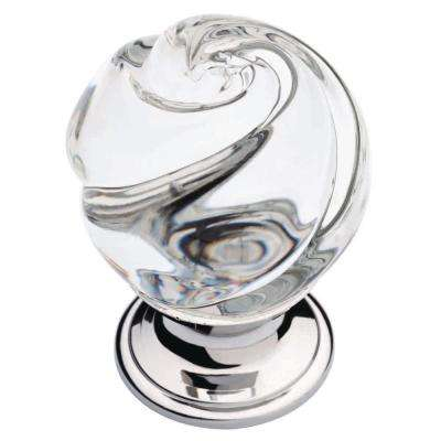 Delightful Chrome And Clear Swirled Glass Cabinet Knob