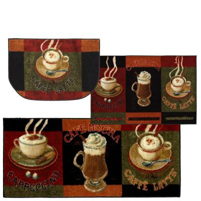 Caffe Latte Primary 2.6 ft. x 3.10 ft. Kitchen Mat (3-Piece Set)