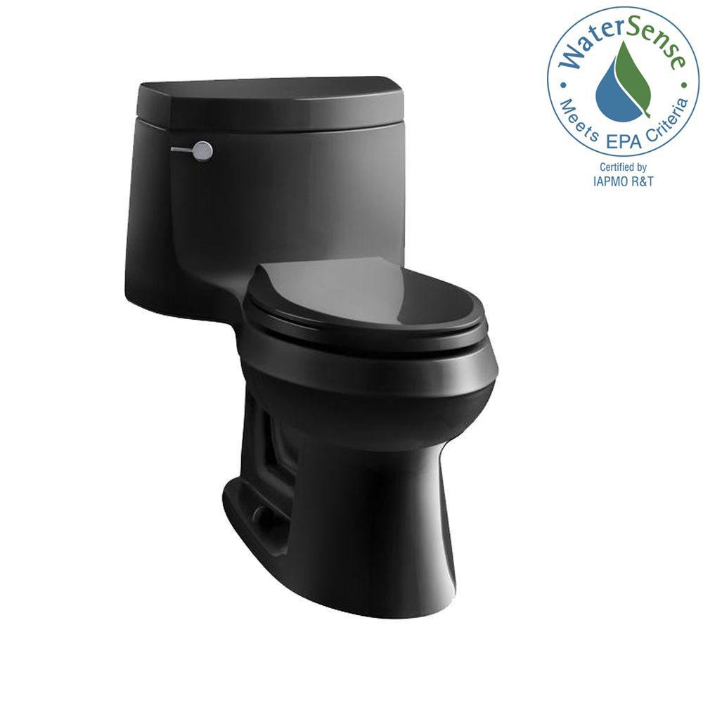Cimarron 1-piece 1.28 GPF Single Flush Elongated Toilet with AquaPiston Flush Technology in Black Black