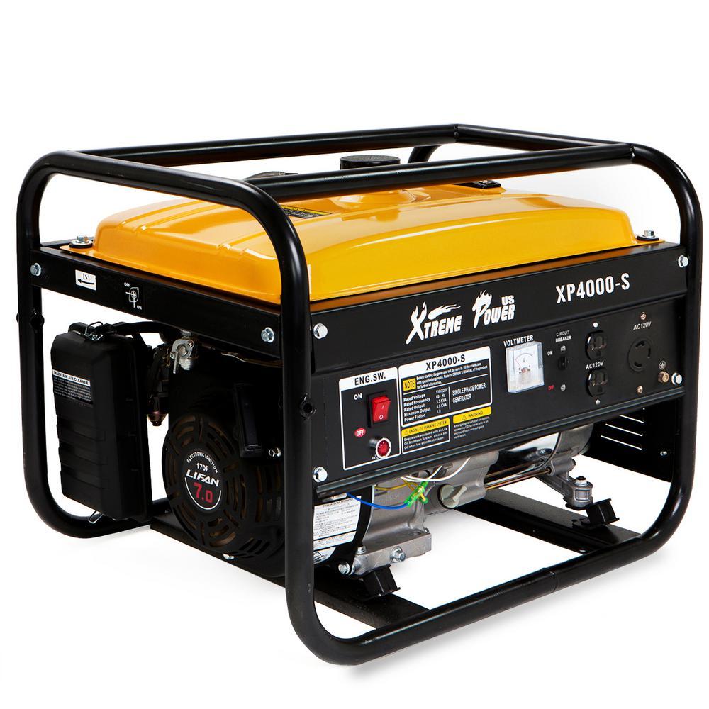 4,000-Watt 7HP 120-Volt Gasoline Powered Recoil Start Portable Emergency Generator EPA Certified