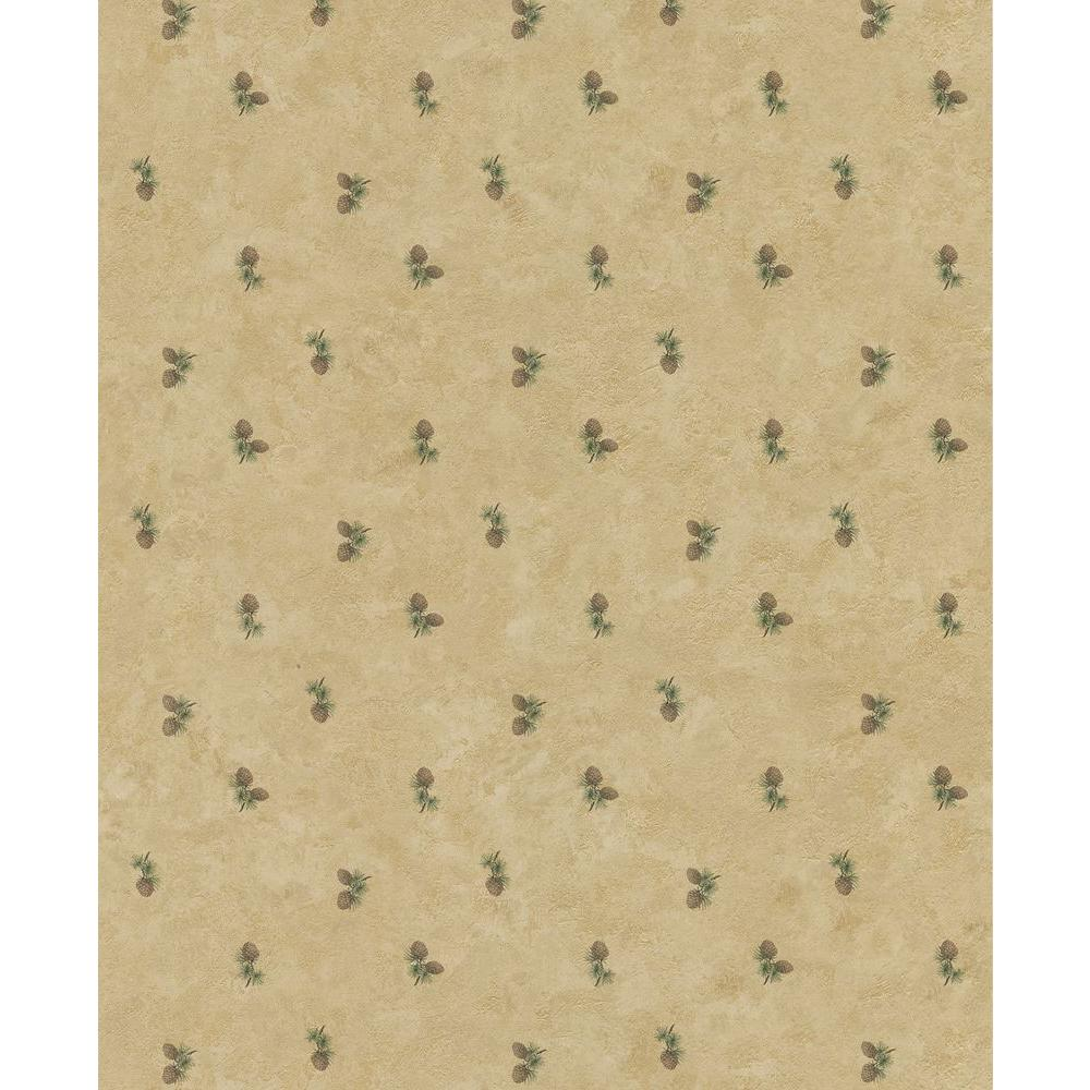 Brewster Northwoods Lodge Cream Pinecone Wallpaper Sample