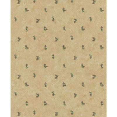 Northwoods Lodge Cream Pinecone Wallpaper Sample